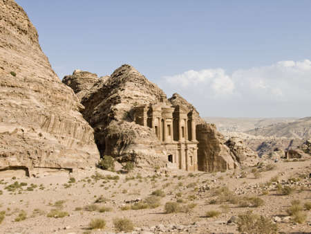 Monastary, the larges monument in Petra - Nabataeans capital city (Al Khazneh) , Jordan. Made by digging a holes in the rocks. Roman Empire period. Stock Photo - 2584797