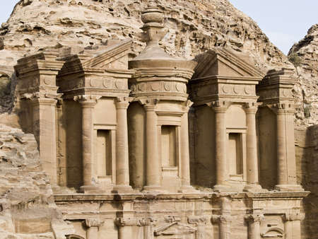 idolatry: Monastery, the larges monument in Petra - Nabataeans capital city (Al Khazneh) , Jordan. Made by digging a holes in the rocks. Roman Empire period.