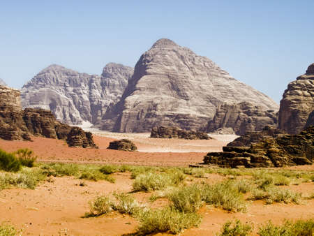 wadi: Wadi Rum desert hills in Jordan Stock Photo