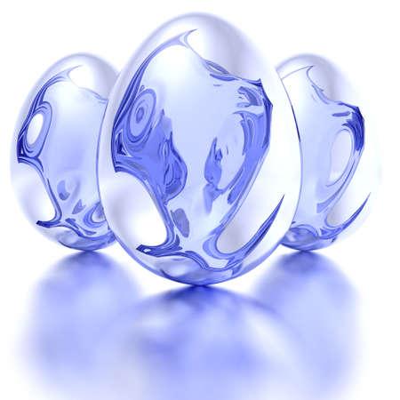 Blue �ufs de P�ques avec une r�flexion sur blanc  Banque d'images