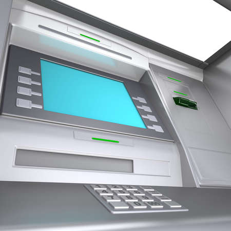 salaries: Close up of an ATM machine. Wide angle