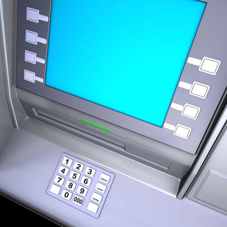 Close up of an ATM machine. Keyboard and screen detail. Stock Photo - 2660402