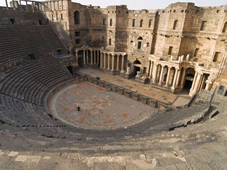 Ancient Roman time town Bosra in Syria. Theater details. Stock Photo