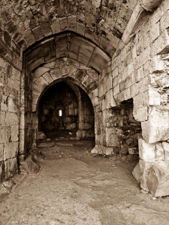 crusader: Krak des Chevaliers (Crac des Chevaliers) is a Crusader fortress in Syria. Inside the bulwark.