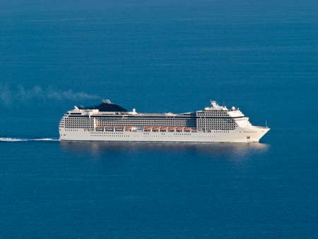holidays vacancy: Panorama with cruiser. Near island Lastovo, Croatia Stock Photo
