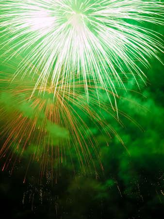 Fireworks rockets exploding against dark sky. Stock Photo - 3267111
