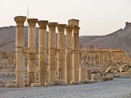 remains: Ancient Roman time town in Palmyra (Tadmor), Syria. Greco-Roman, Persian Period.