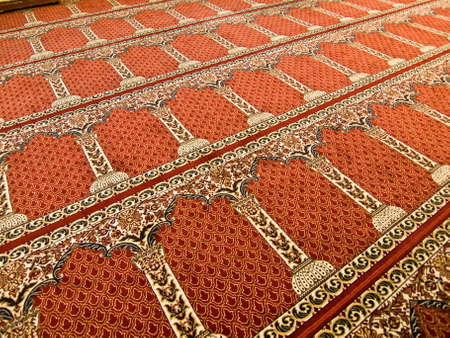 conquest: The Umayyad Mosque carpet in Damascus, Syria. Roman temple and Byzantine church before the Islamic conquest of the Levant. Stock Photo