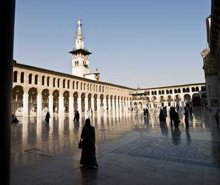 conquest: The Umayyad Mosque tower in Damascus, Syria. Roman temple and Byzantine church before the Islamic conquest of the Levant.