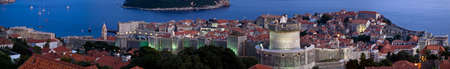 dubrovnik: Dubrovnik old city walls panorama at sunset.