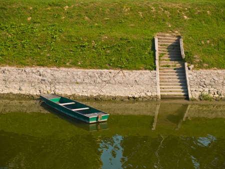 reflecting: River landscape detail. Location: Vukovar, Croatia, Europe.