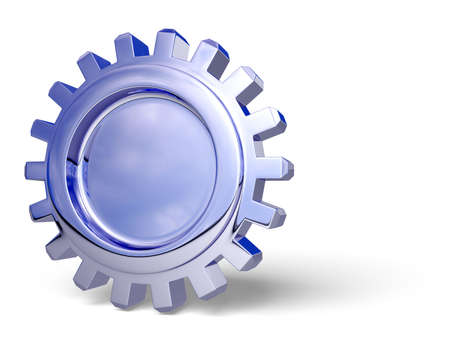 Nice reflection on a gear with shadow on white. Easy to isolate. photo