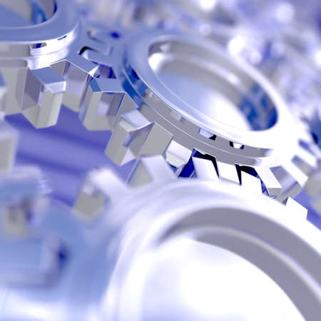 Nice sky reflection on a connected gears. Focus on a connection. 3D illustration with use of DOF. illustration