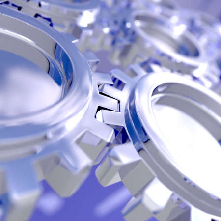 Nice sky reflection on a connected gears. Focus on a connection. 3D illustration with use of DOF. Stock Illustration - 3519265