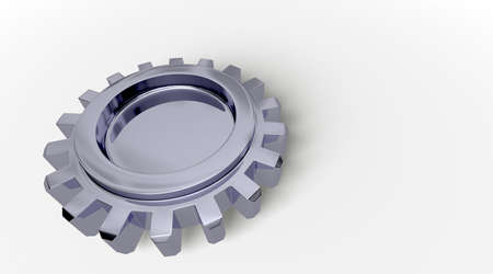 Dark reflection on a gear with shadow on white. Easy to isolate. photo