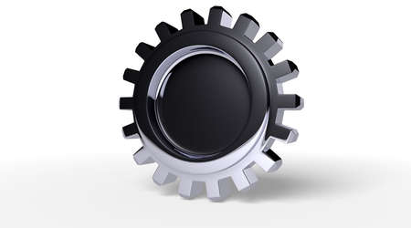 rotator: Dark reflection on a gear with shadow on white. Easy to isolate. Stock Photo