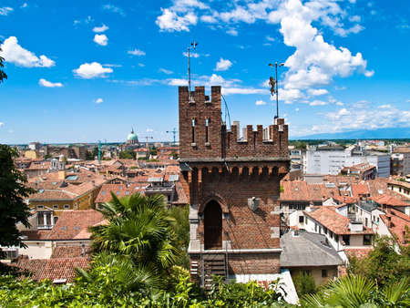 Udine is the historical capital of Friuli. Panorama with castle detail. Stock Photo