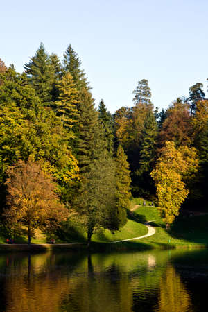 Forest in a park of castle Trakoscan, Croatia, Europe photo
