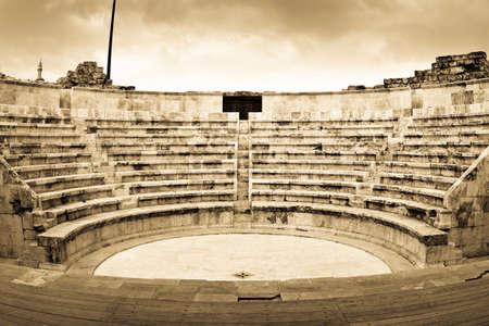 building monumental: Roman amphitheater in Amman, Al-Qasr site, Jordan.