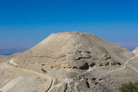 View to the Machaerus (Mukawir) to of the hill - Jordan. Place of execution of John the Baptist.