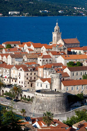 Далмация: Old medieval town Korcula - panorama detail with chathedral. Croatia, Dalmatia region, Europe.