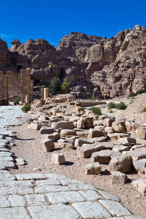 nabataeans: Petra - Nabataeans capital city (Al Khazneh) , Jordan. Roman square remains. Roman Empire period. Stock Photo