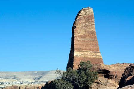 nabataeans: Obelisk in Petra, Jordan. Nabataeans capital city (Al Khazneh). Roman Empire period. Stock Photo
