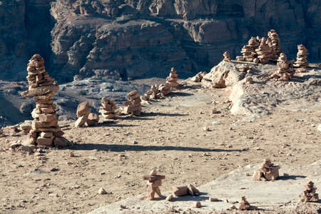 khazneh: Path with bedouin sign in Petra - Nabataeans capital city (Al Khazneh) , Jordan. Stock Photo