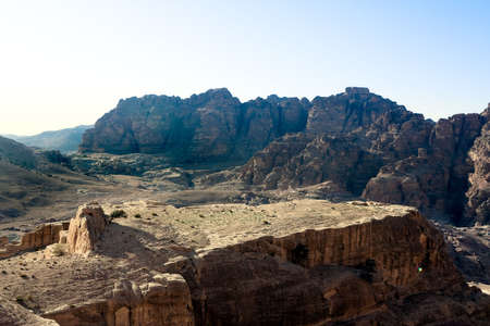khazneh: Plateau from High Place in Petra, Jordan. View to the temple Qasr Al-Bint. Nabataeans capital city (Al Khazneh). Made by digging the rocks. Roman Empire period.