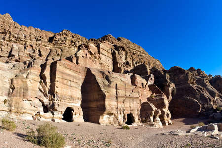 nabataeans: Tombs in Petra, Jordan. Nabataeans capital city (Al Khazneh). Made by digging the rocks. Roman Empire period.