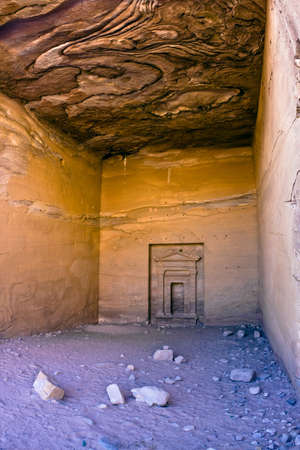 nabataeans: Tomb details in Petra - Nabataeans capital city (Al Khazneh) , Jordan. Made by digging a holes in the rocks. Roman Empire period.