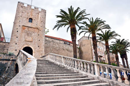 Main entrance in old medieval town Korcula. Croatia, Dalmatia region, Europe.