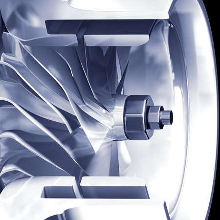 rotator: Turbine cross section detail of motor. 3D illustration