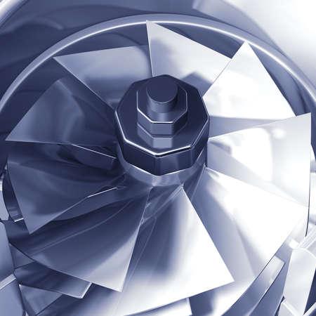 Turbine cross section detail of motor. 3D illustration Stock Illustration - 5602355