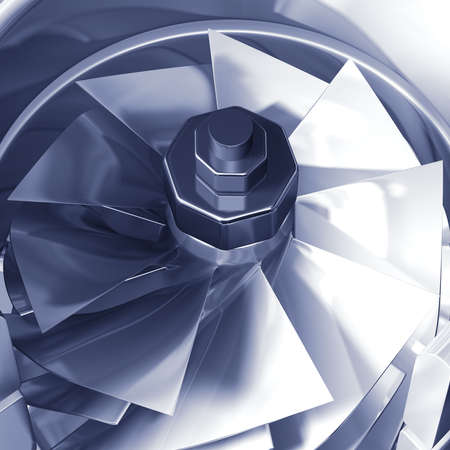 airflow: Turbine cross section detail of motor. 3D illustration