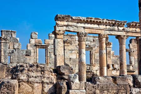 Pompey made Apamea (Apameia) or Afamia (Arabic) part of the Roman Empire in Syria. Cardo maximus street with column details. Roman and Byzantine period photo