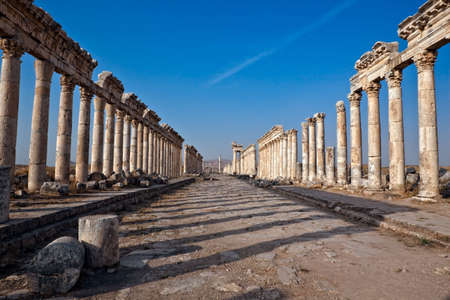 byzantine: Pompey made Apamea (Apameia) or Afamia (Arabic) part of the Roman Empire in Syria. Cardo maximus street with columns. Roman and Byzantine period Stock Photo