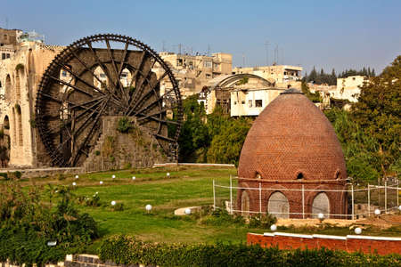 waterwheel: Hama (ancient Hamath). Part of 17 ancient wooden norias (1100 BC) on Orontes River used for watering the gardens