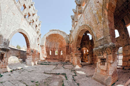 church ruins: This is one of the best preserved Syrian - Byzantine ecclesiastical building (5th century). Three-nave cathedral. Fish eye shot.