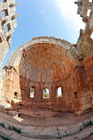 This is one of the best preserved Syrian - Byzantine ecclesiastical building (5th century). Three-nave cathedral. Fish eye shot.
