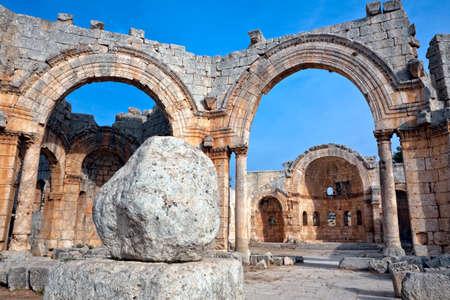 ecclesiastical: Syria - Qala Siman. Ruins of the Church of Saint Simeon with remains of his column. Fish eye shot.