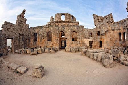 ecclesiastical: Syria - Church of St. Simeon - Qala Siman, Church. Fish eye shot.