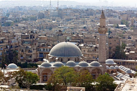 syria: Panorama detail with mosque in Aleppo, Syria