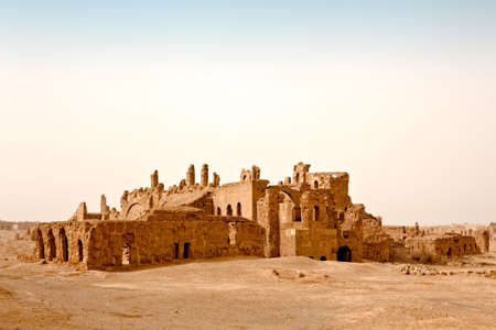 byzantine: The ruins of the Basilica of St. Sergius rise out of the central Syrian desert in ancient Rasafa - Byzantine period. Inside fort witch Diocletian built here to defend against Persian attacks - Roman time.