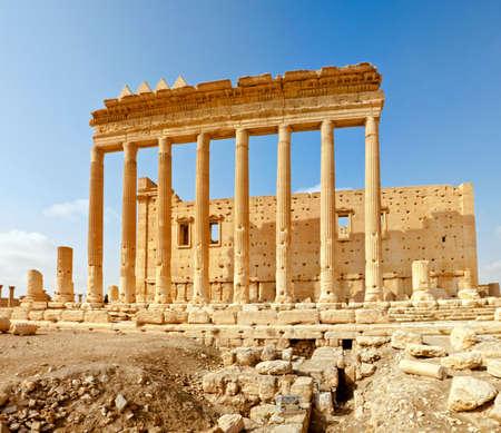 Ville de temps romain antique de Palmyra (Tadmor), Syrie. P�riode gr�co-romaine et persan. Temple de bel. Banque d'images