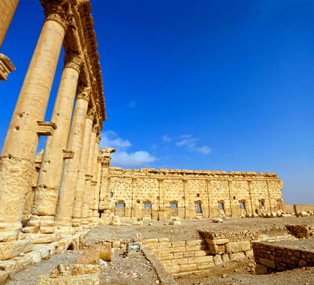 Ancient Roman time town in Palmyra (Tadmor), Syria. Greco-Roman & Persian Period. Temple of Bel. Imagens