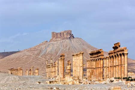 syria: Antike r�mische Zeit Stadt in Palmyra (Tadmor), Syrien. Griechisch-r�mischen und persischen Periode. Fortress Qala'at Ibn Maan