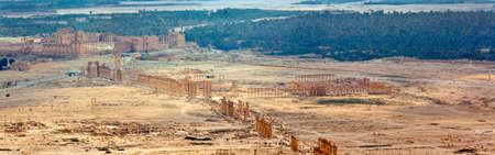 Ancient Roman time town in Palmyra (Tadmor), Syria. Greco-Roman & Persian Period. Oasis panorama