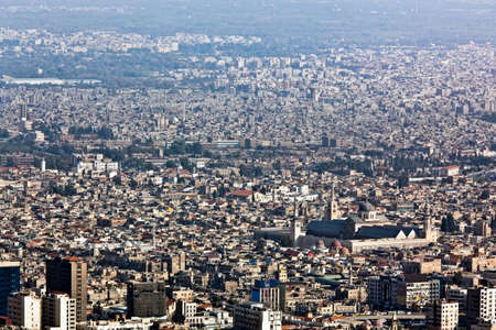 Panorama of Damascus from mountain Kasun. Detail with Umayyad mosque. Stock Photo