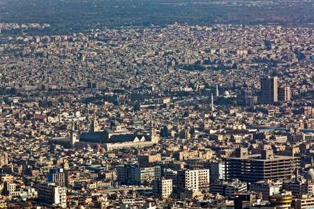 damascus: Panorama of Damascus from mountain Kasun. Detail with Umayyad mosque. Stock Photo